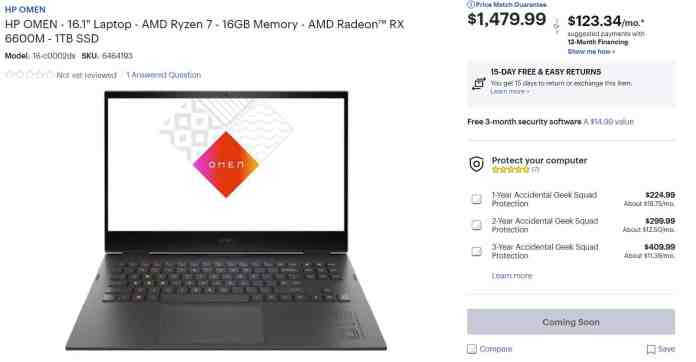 HP OMEN 16 Advantage Edition with Ryzen + Radeon combo coming soon for $1,479.99