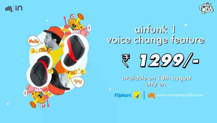 Micromax AirFunk 1 TWS earbuds launched in India at ₹1,299
