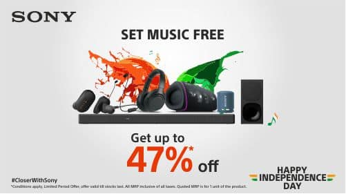 Independence Day Special Deals on Sony headphones and other audio products_TechnoSports.co.in