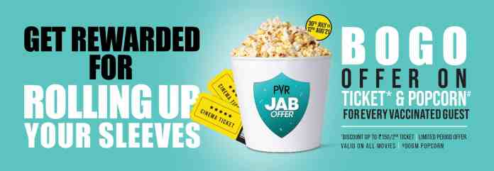 PVR Cinemas introduces a special 'JAB Offer': Free Ticket for Every Vaccinated Guest as a welcome gesture on reopening