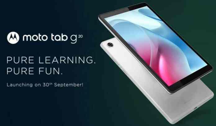 Moto Tab G20 launch set for September 30 reveals Flipkart listing