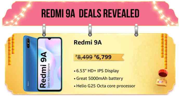 Redmi 9A will be available at Rs.6,799 on Amazon Great Indian Festival 2021