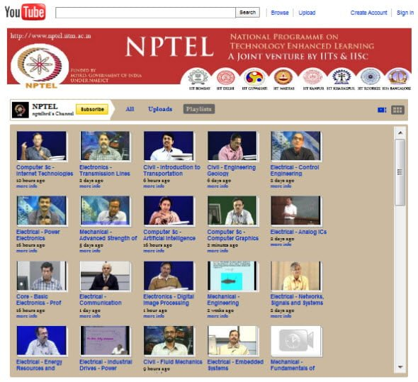 IIT and IISc lectures available on YouTube for free