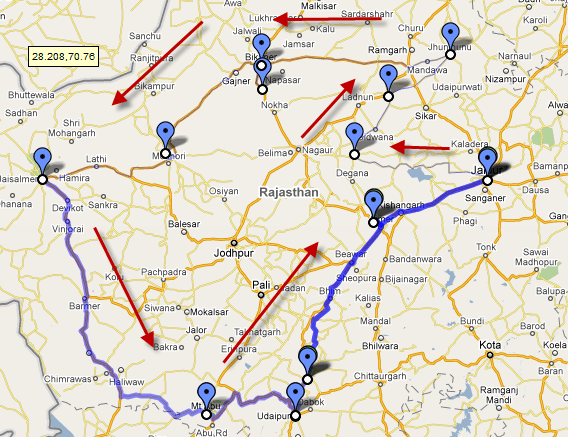 Map for Rajasthan Trip
