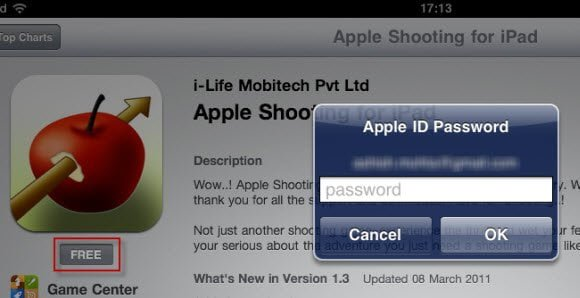 Apple id Password prompt for free apps