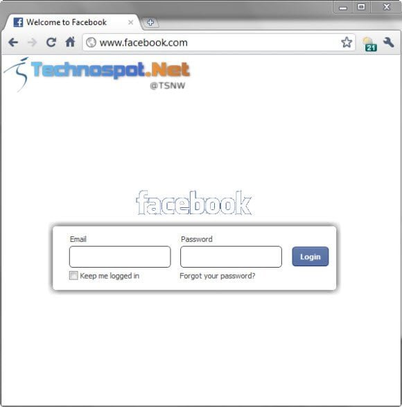 Change the look of Facebook login page with Chrome extension