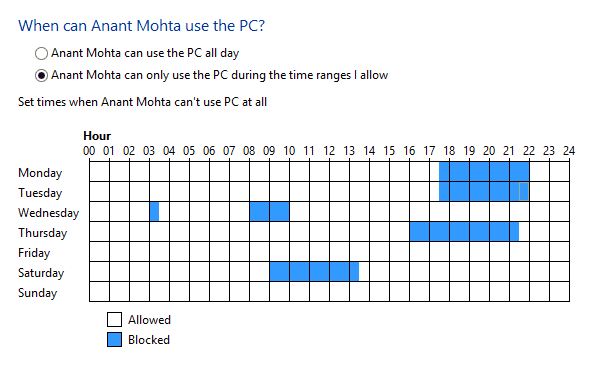 Child Account Curfew Settings in Windows 8