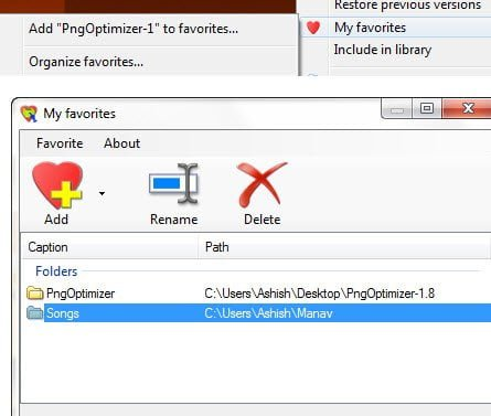 ConFavor Add Folders and Files to Favorites