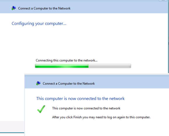 Computer added to WHS : Connection Successful
