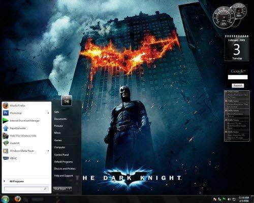 Dark Knight Gadget Windows 7 Theme