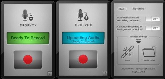 DropVox recoding and upload to dropbox