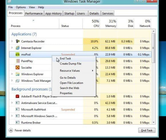 End Windows App in Windows 8 Task Manager