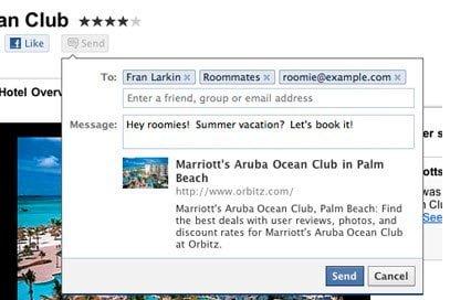 Facebook Send Button in Action