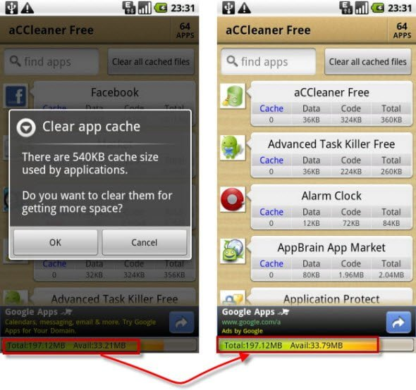 Free Android app to clear all cache files in one tap