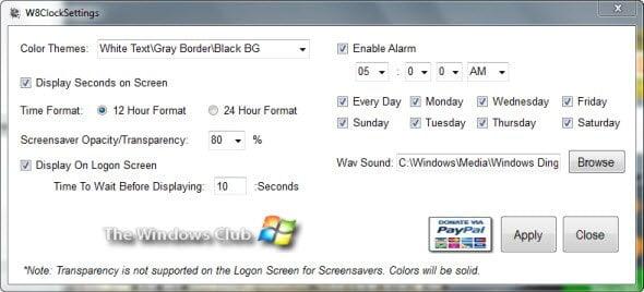 Free Download Windows 8 like Clock Screensaver settings