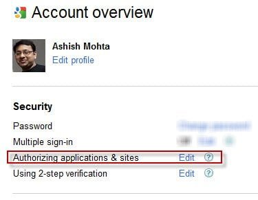 Google Account Authorizing Applications and Sites
