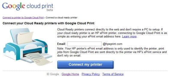 Google Cloud Print Add HP EPrinter