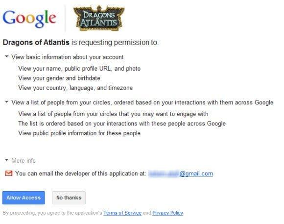 Google Plus Game Access Permission