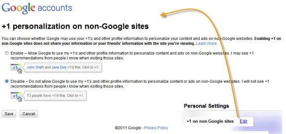 Google Plus One Personal Settings