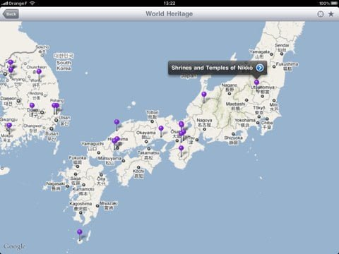 Interactive map with Fotopedia free app for iPad iPhone and iPod touch