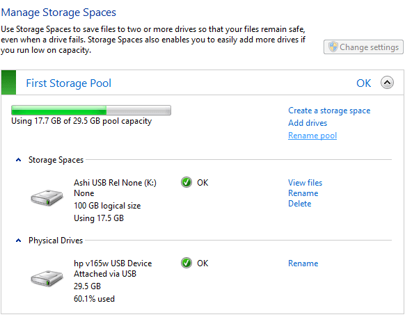 Configure Windows 10 Storage Spaces