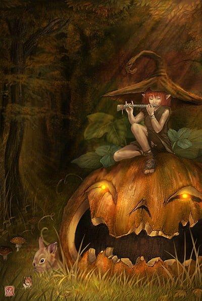 Playing Flute on Halloween Pumpkin