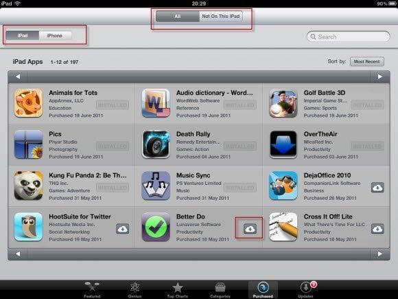 Purchased Apps List on iPad