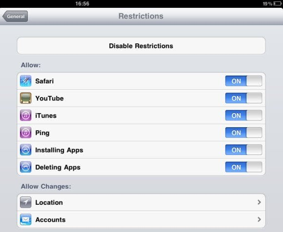Restriction Control in iPad