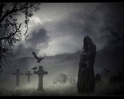 Crows and unDead : Scary Halloween Wallpaper