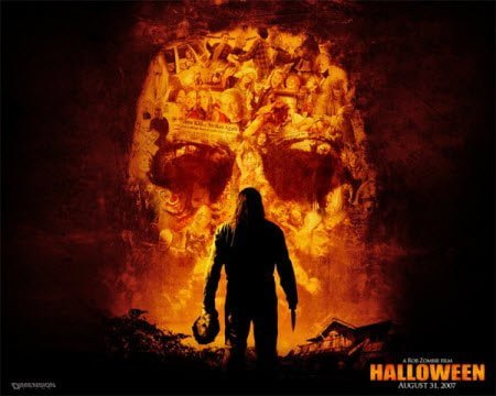 Scary Halloween Wallpaper Man and Golden Skull