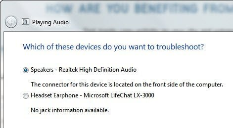 Select device you want to make as default device in Windows 7