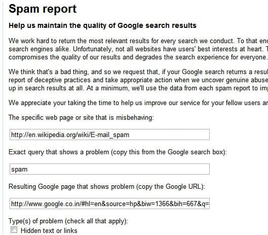Web Spam Report Form