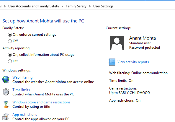 Windows 8 Parental Control Options