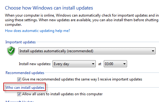 Windows Update Who can install