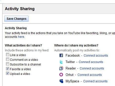 YouTube Acitvity Sharing