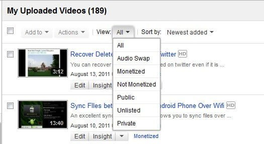 Youtube Partners Filter Interface