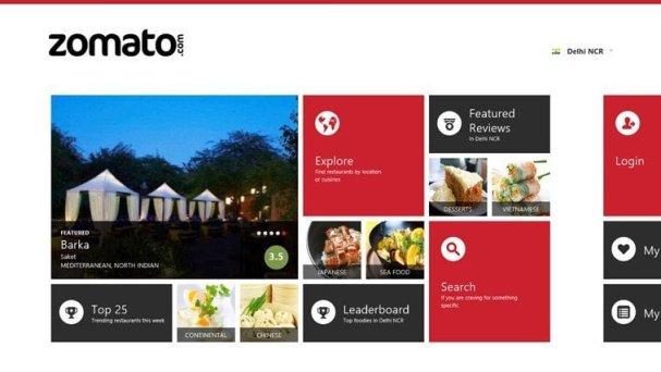 Zomato Windows 8 App