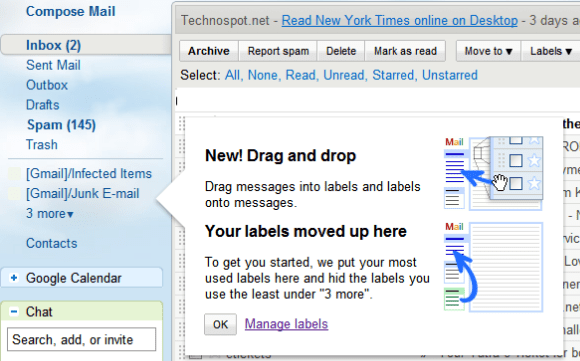 Gmail : Drag Drop Labels and messages