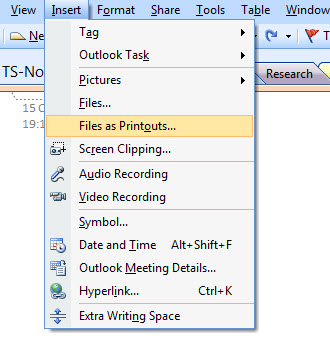 Inserting Files as Printouts in One Note