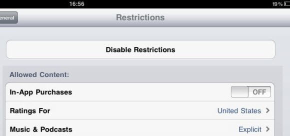 iOS in-app restriction