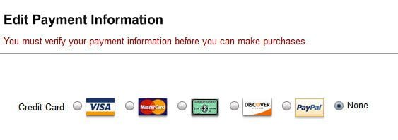 iTunes Account Payment Information