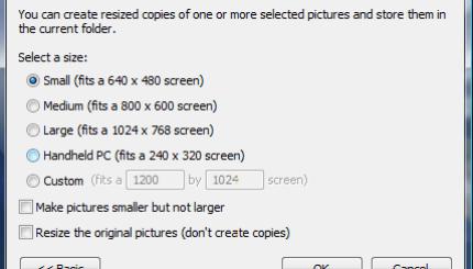 Quick resizing size options