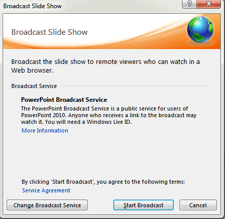 Slideshow broadcast wizard