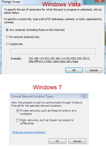 Scope and Network Profile settings for Ports and Program in Windows Firewall