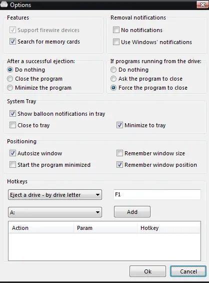USB Eject Options