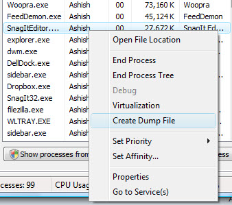 Create DUMP files for running processes
