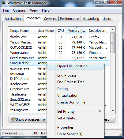 Opening File location of the running program from Task manager