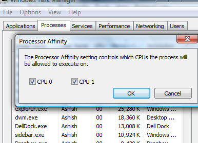 Setting Affinity with the processor