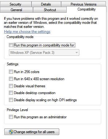 Windows 7 compatibility property