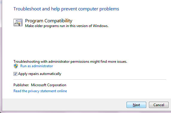 Windows 7 compatibility Wizard